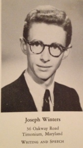 My dad, Joseph Winters in his senior photo in the 1954 Johns Hopkins yearbook