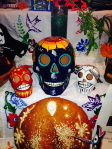 Colorful skulls and pan de muerto