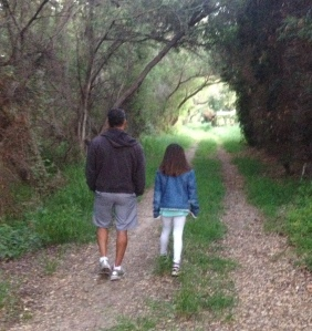 Taking a walk with Rene and Isa at dusk on Easter Sunday.